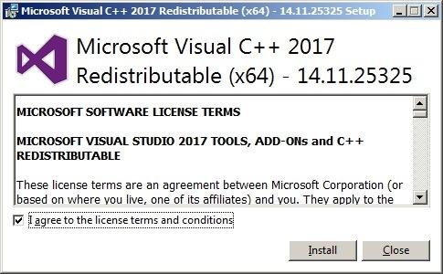 安装Visual C++ Redistributable(C++ 应用程序运行时组件包)