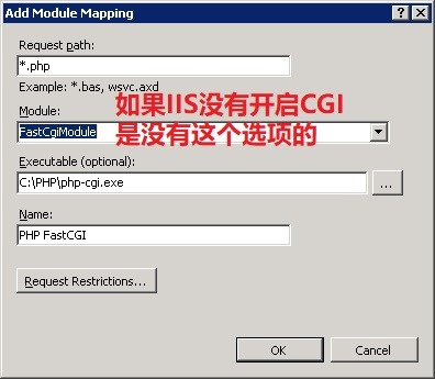 IIS Add Module Mapping 添加模块映射