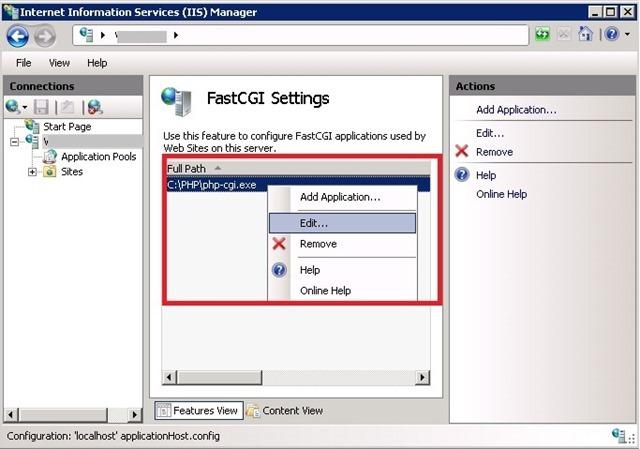 IIS 编辑 PHP FastCGI Setting 设置