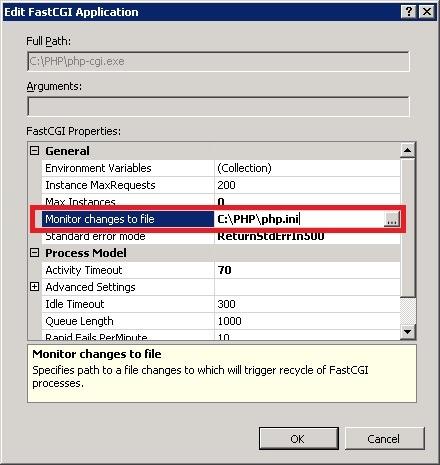 IIS 设置监视 PHP.ini 文件更改