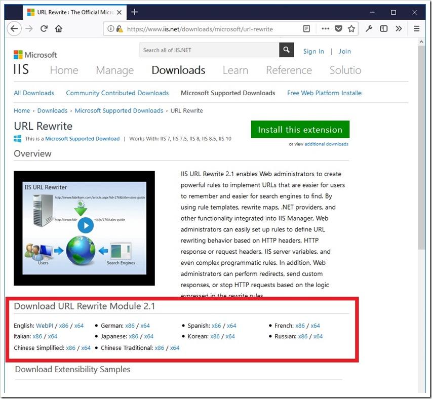 微软官方 IIS URL Rewrite 模块下载页面