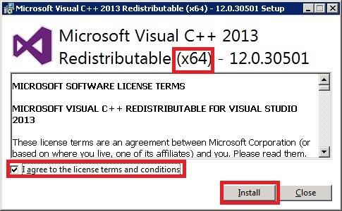 Windows Server 安装 MySQL,安装 Microsoft Visual C++ 2013 可再发行组件包