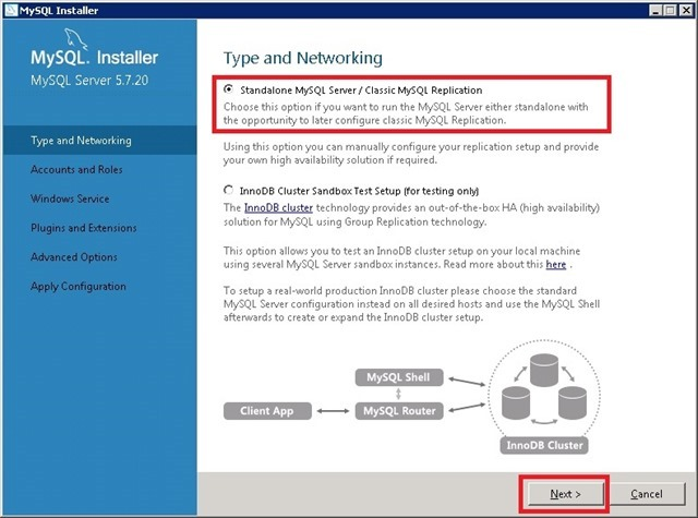 Windows Server 安装 MySQL,选择网络类型