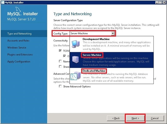 Windows Server 安装 MySQL,选择配置类型