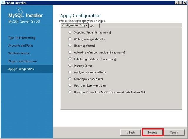 Windows Server 安装 MySQL,Apply Configuration 应用配置