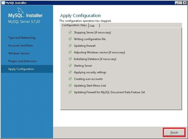 Windows Server 安装 MySQL,Apply Configuration 应用配置完成