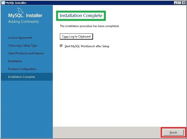 Windows Server 安装 MySQL,Installation Complete 安装完成