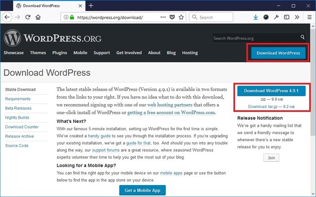 Downlaod WordPress 下载 WordPress 压缩包