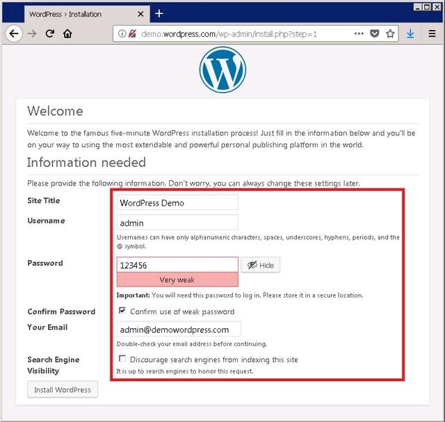 WordPress 首次初始化安装,输入用户信息