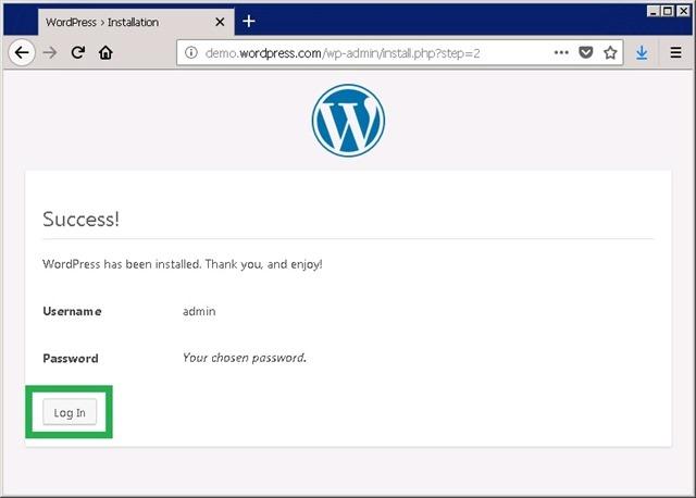 WordPress 首次初始化完成,登录
