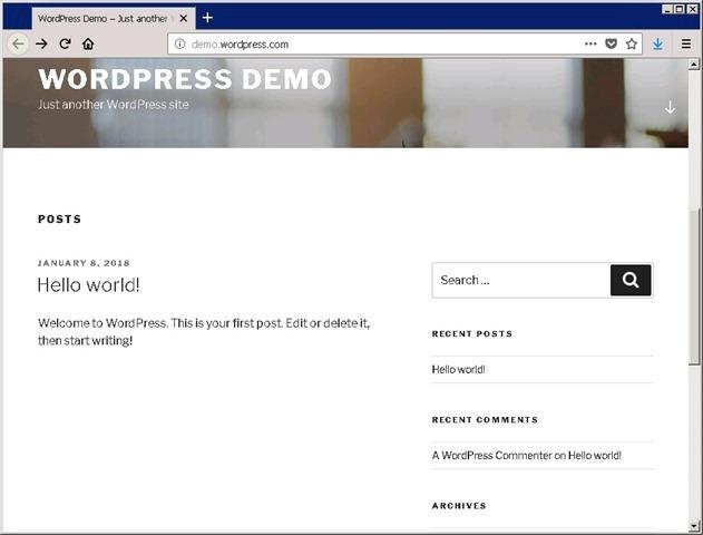 浏览 WordPress 站点首页