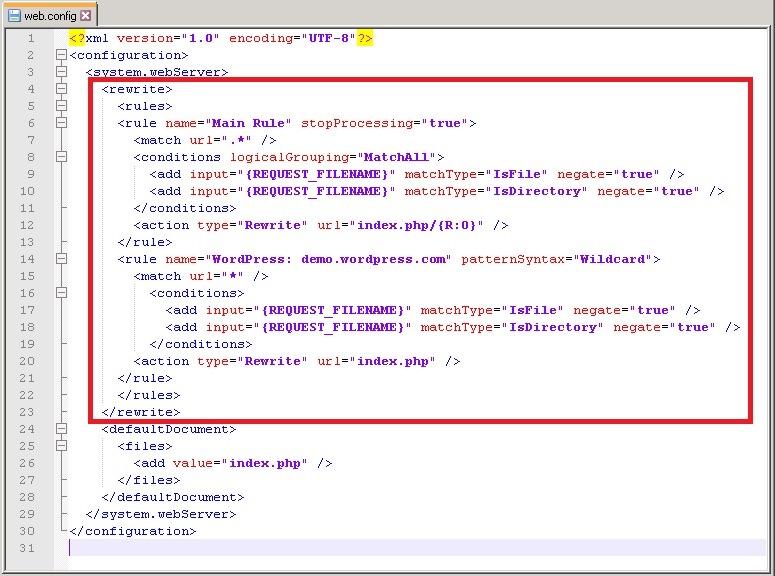 Wordpress 添加 IIS URL Rewrite 路由规则