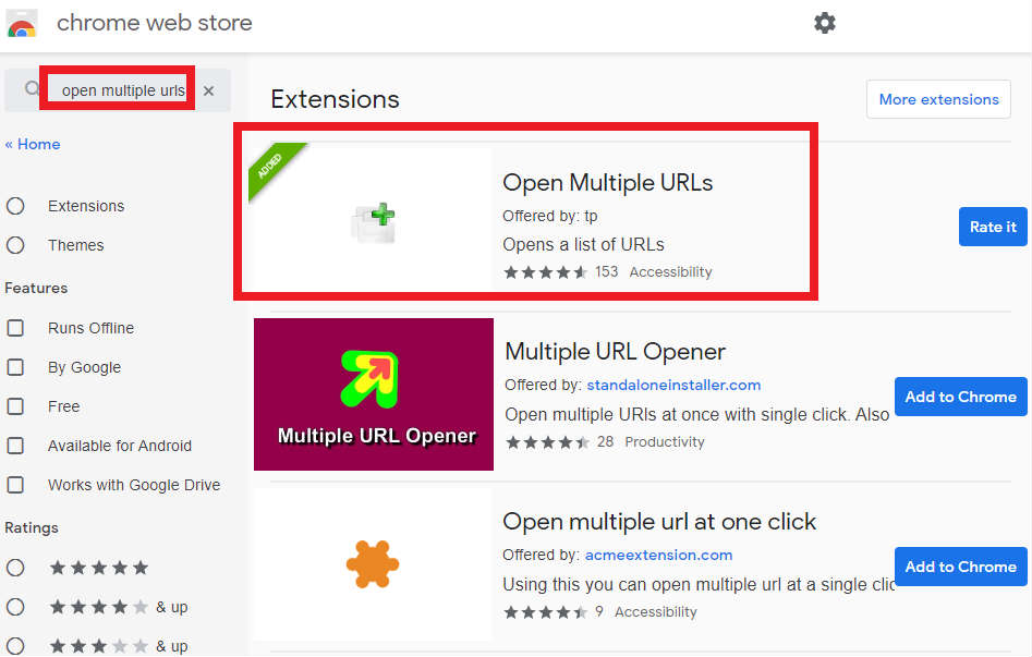 Google Chrome 浏览器安装Open Multiple URLs插件